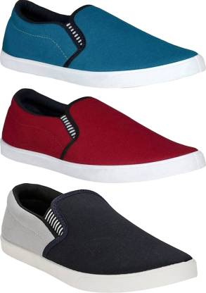 BRUTON Combo Pack Of 3 Casual Shoes Slip On Sneakers For Men