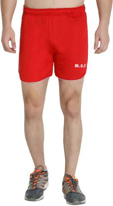 M.R.D. Solid Men & Women Red Sports Shorts