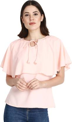 Casual Cape Sleeve Solid Women Pink Top