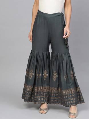 Jaipur Kurti Flared Women Grey Trousers