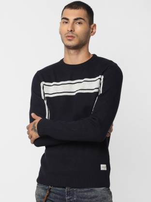 Jack & Jones Embroidered Round Neck Casual Men Blue Sweater