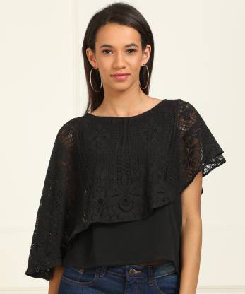 Casual Cape Sleeve Lace Women Black Top