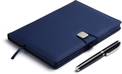 COI BLUE A5 DAILY DIARY - Unique Stationery A5 Planner for Office going Men and Women for Business Interviews and Corporate Meetings with Stylish Elastic lock and Pen. A5 Diary Ruled 180 Pages