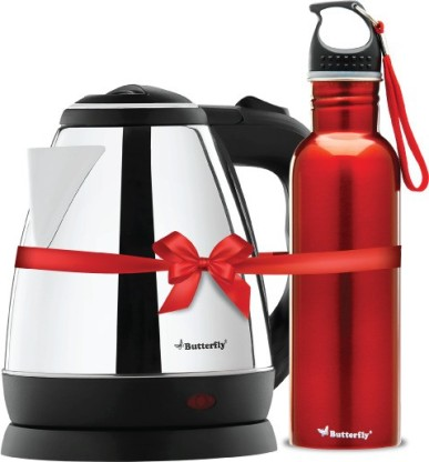 Butterfly Rapid Electric Kettle (1.5 L, Black) & Eco750 ml water bottle