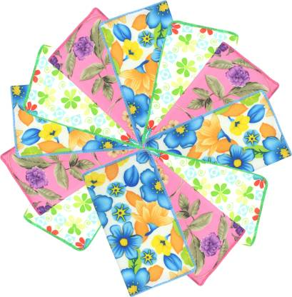 "Neska Moda Women's Floral Cotton 25x25 CM [""Green"",""Blue"",""Pink""] Handkerchief  (Pack of 12)"