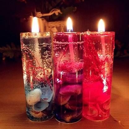 Flipkart SmartBuy 6PC SUPER Cute Glass Gel Candles Candle(Multicolor, Pack of 6)