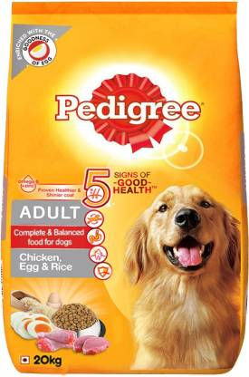 Pedigree Pedigree Adult Dry Dog Food (High Protein Variant) Chicken, Egg & Rice, 20 Kg Pack Rice, Egg, Chicken 20 kg Dry Adult Dog Food