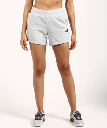 Puma Solid Women Grey Sports Shorts