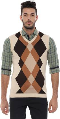 Van Heusen Self Design V Neck Casual Men Beige Sweater