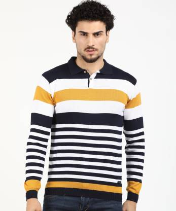 EASIES BY KILLER Striped Casual Men Dark Blue, White Sweater