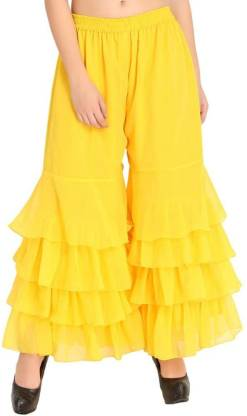 Shararat Flared, Relaxed Women Yellow Trousers