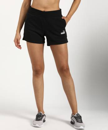 Puma Solid Women Black Sports Shorts