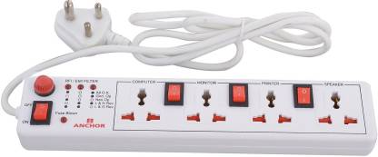Anchor By Panasonic Spike Guard- 4 Universal Socket Shutter with Individual Switch