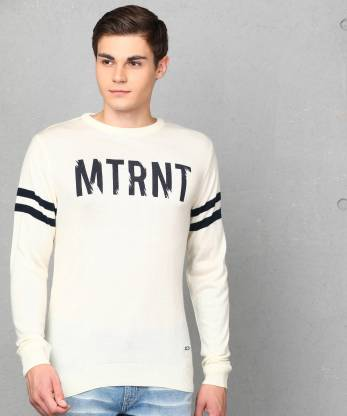 Printed Crew Neck Casual Men Beige Sweater