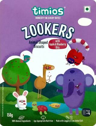 Timios Zookers Animal Shaped with Apple & Blueberry bits