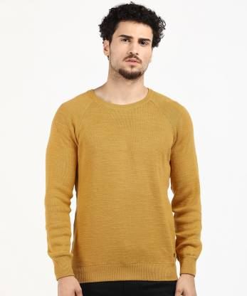 Pepe Jeans Solid Round Neck Casual Men Yellow Sweater