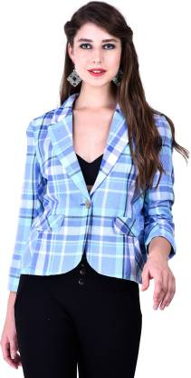 Eves Pret A Porter Checkered Single Breasted Casual Women Blazer