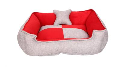R.K Products DC48 M Pet Bed  (Light Grey, RED)
