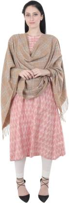 Matelco Wool Checkered Women's Shawl  (Beige)