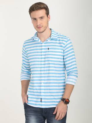 Rope Men Striped Casual White, Blue Shirt