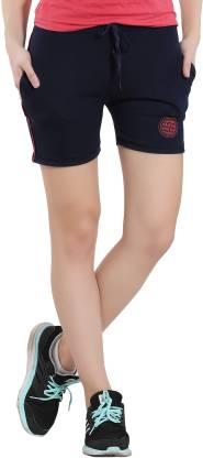 Solid Women Dark Blue Sports Shorts
