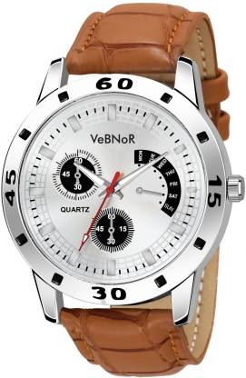 VeBNoR Chronograph White Dial Brown Leather Strap White Analog Watch - For Boys