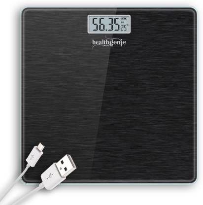 Healthgenie Rechargeable Digital Personal Scale for Human Body with Room Temperature Display Weighing Scale