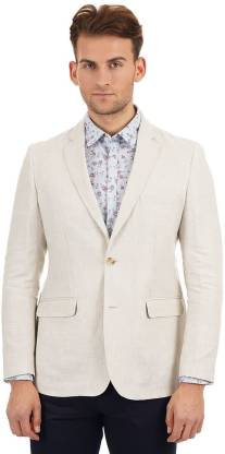 Solid Single Breasted Casual Men Full Sleeve Blazer  (Beige)