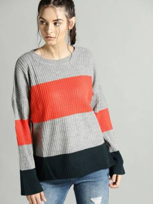 Woven Round Neck Casual Women Grey Sweater
