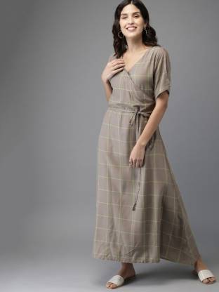Women Wrap Grey Dress