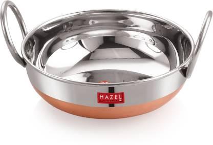 HAZEL Alfa Premium Heavy Gauge Stainless Steel Kadai with Copper Bottom (1 ltr), Silver & Copper Kadhai 19 cm diameter 1 L capacity