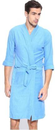HOTDEALZZ Blue Free Size Bath Robe  (Pack Of 1 Bath Robe, For: Men, Blue)