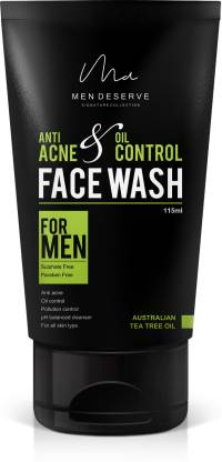 Men Deserve Anti Acne and Oil Control  with Australian Tea Tree Oil - 115 ml (Sulphate free and Paraben free) Face Wash