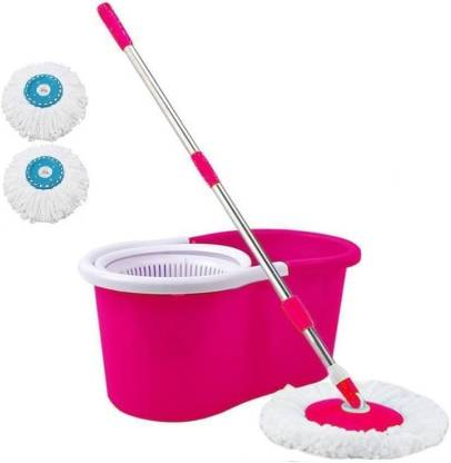 Granny Smith Bucket Mop - 360 Degree Self Spin Wringing With 2 Super Absorbers Mop Set