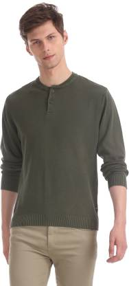 Flying Machine Solid Round Neck Casual Men Green Sweater
