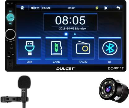 DULCET DC-9911T 240W Universal Fit Double Din 7 inch Full HD Touch Screen Car Stereo which supports BluetoothScreen Mirroring and Remote with HD 8 LED Night Vision Car Rear View Camera Car Stereo