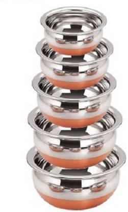 OBLETTER Handi Pot 5 Piece Set Combo Serving Handi Cookware Handi 2 L, 1 L, 0.5 L, 0.25 L, 0.1 L (Copper, Non-stick, Induction Bottom) Handi 2 L, 1 L, 0.5 L, 0.25 L, 0.1 L