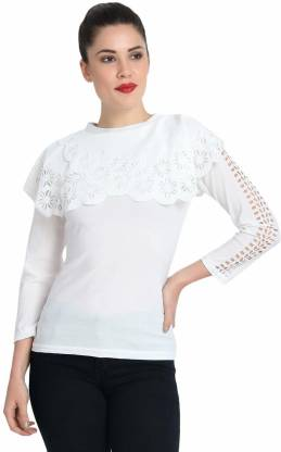 Casual Cape Sleeve Laser Cut Women White Top