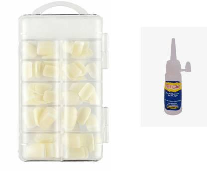 BEAUTRISTRO Reusable Acrylic False Nails With Free Glue WHITE
