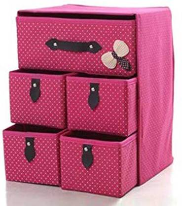 SUKHAD Fabric Free Standing Cabinet 5 Drawer 3 Layer(Multi Color) Fabric Free Standing Cabinet