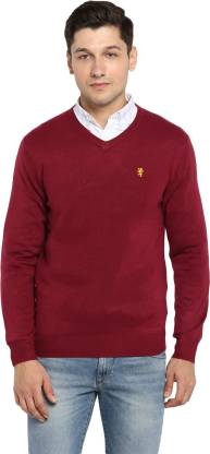 Red Tape Solid V Neck Casual Men Red Sweater