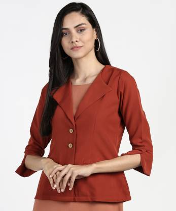 Solid Single Breasted Casual Women 3/4 Sleeve Blazer(Red)