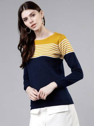 TOKYO TALKIES Striped Round Neck Casual Women Multicolor Sweater