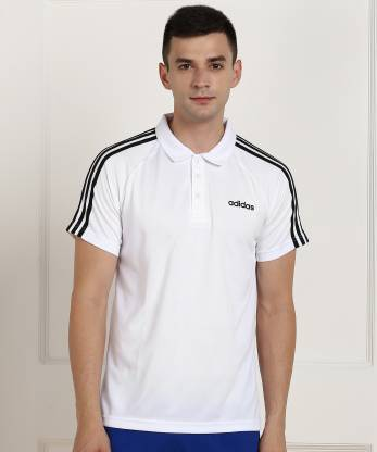 ADIDAS Sporty Men Polo Neck White T-Shirt