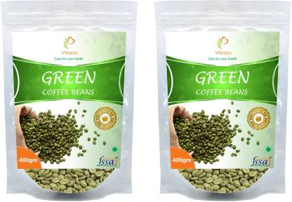 Vihado Premium Green Coffee Beans / 100% Pure & Natural / 2 Pack Of 400gm Instant Coffee