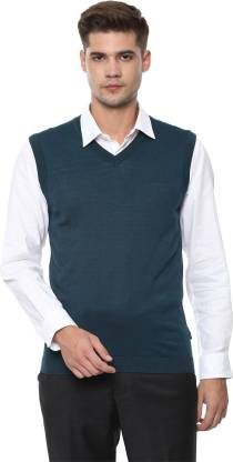 Van Heusen Self Design V Neck Casual Men Green Sweater