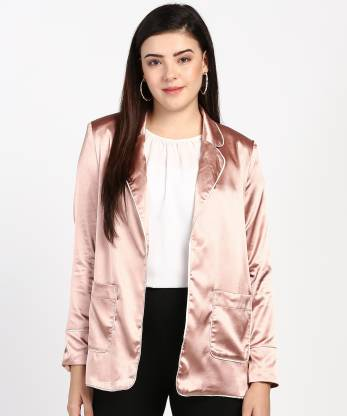 Solid Single Breasted Casual Women Full Sleeve Blazer(Pink)