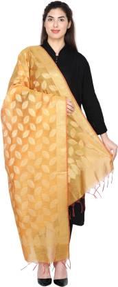 Cotton Silk Woven Orange Women Dupatta