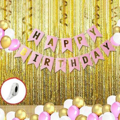 Party Propz Solid 35Pcs Pink,Golden and White Birthday Balloons Combo for Kids Or Birthday Decoration Items for Girls Balloon