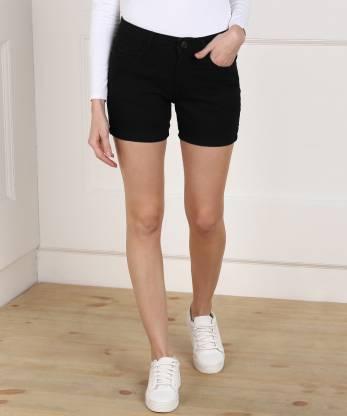 Jealous 21 Solid Women Black Denim Shorts